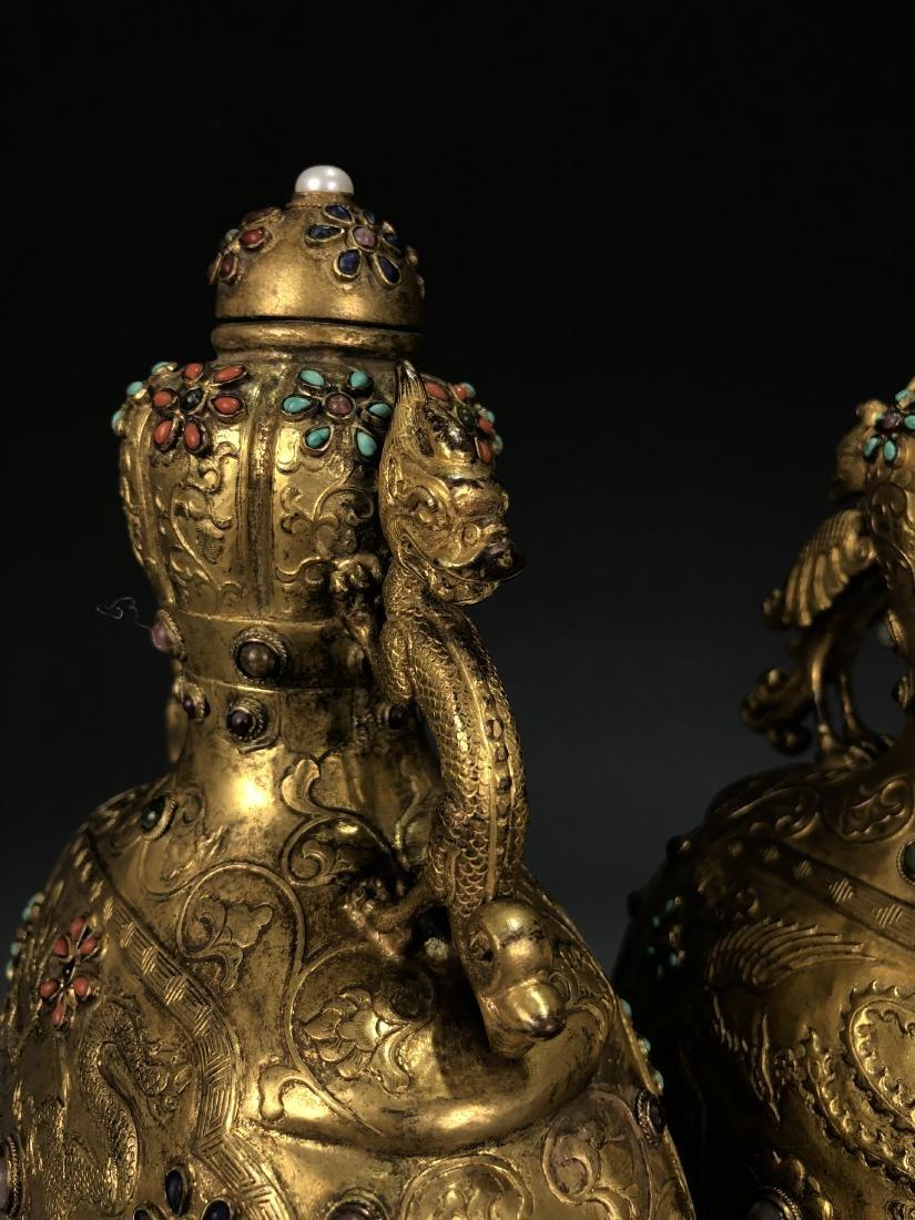 Pair of Gilt Bronze Dragon & Phoenix Vessel with Mark - 3