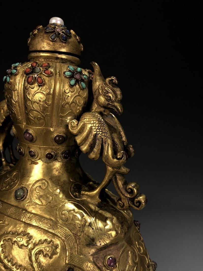 Pair of Gilt Bronze Dragon & Phoenix Vessel with Mark - 4