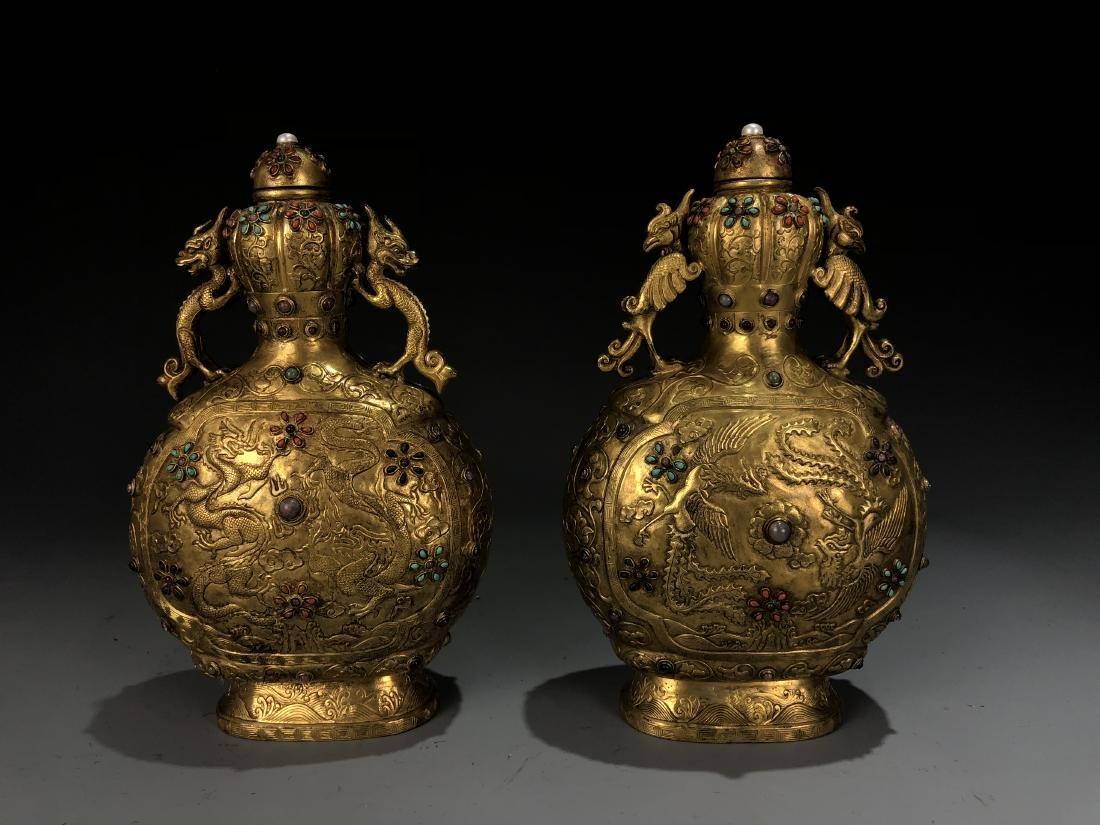Pair of Gilt Bronze Dragon & Phoenix Vessel with Mark - 8