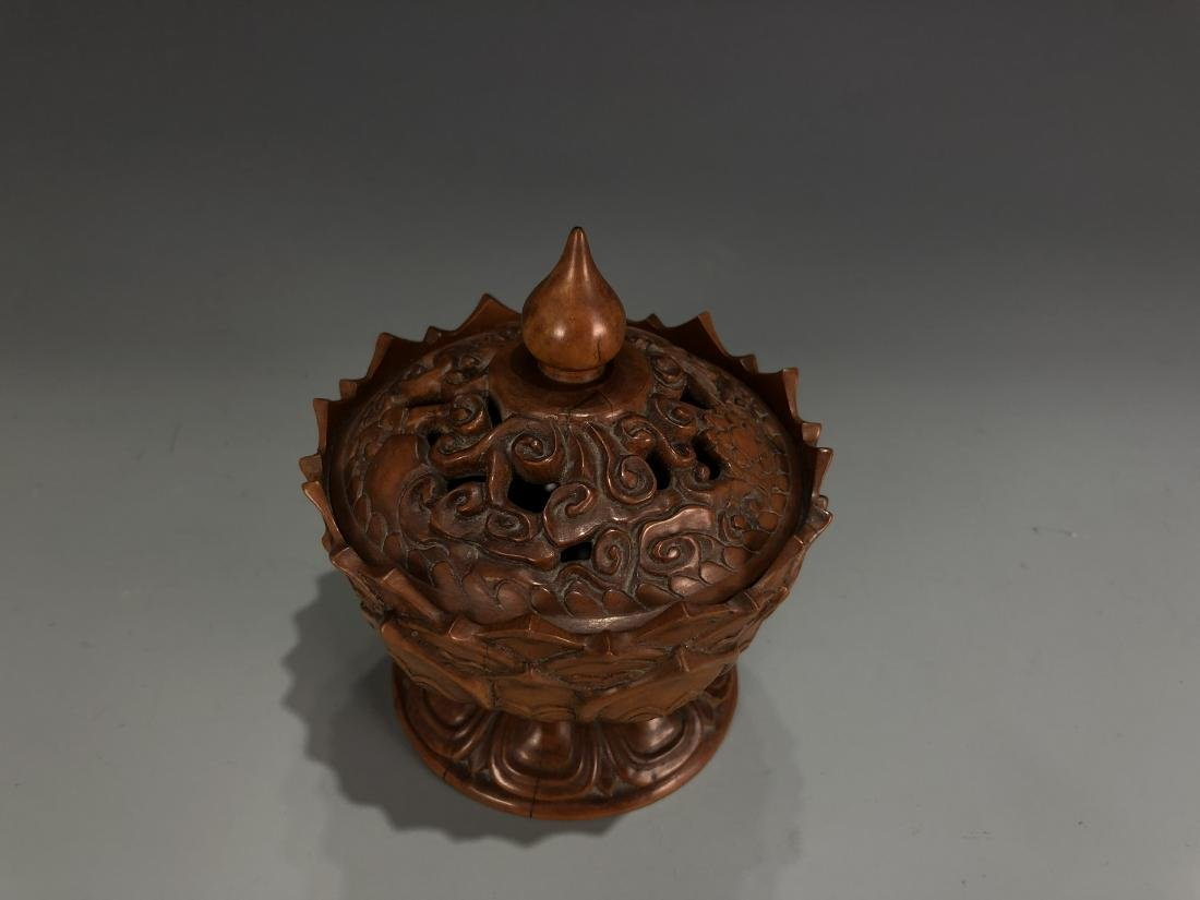 Boxwood Lotus Petal Censer with Cover - 2
