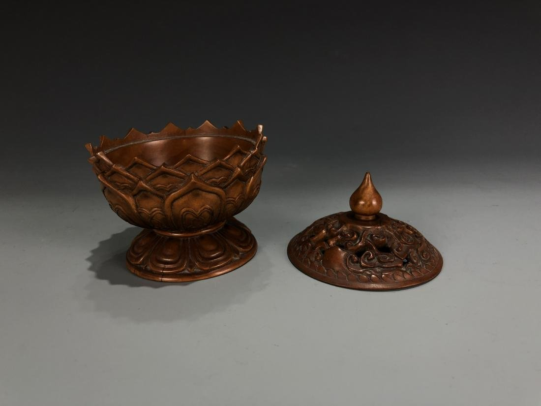 Boxwood Lotus Petal Censer with Cover - 3