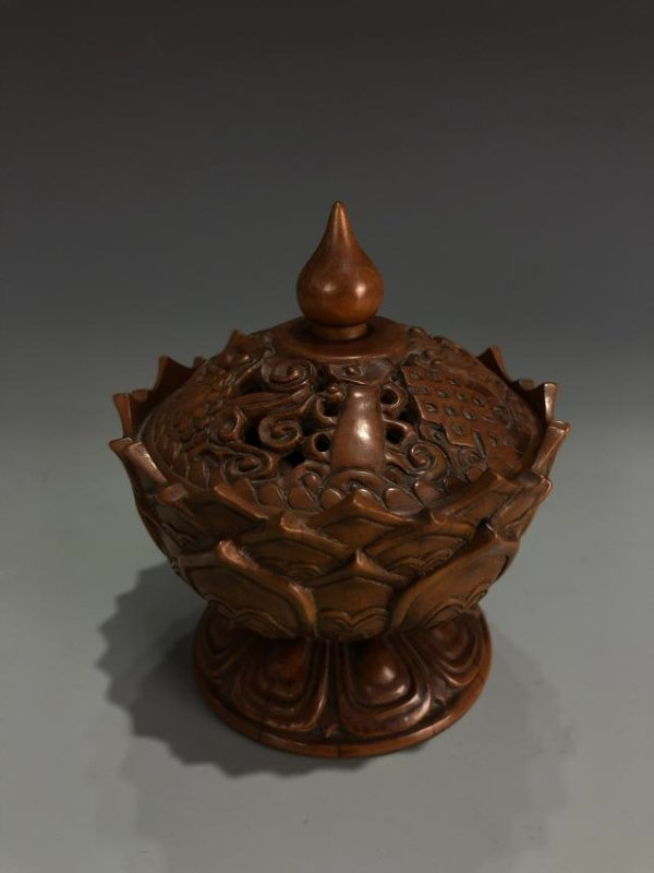 Boxwood Lotus Petal Censer with Cover - 4