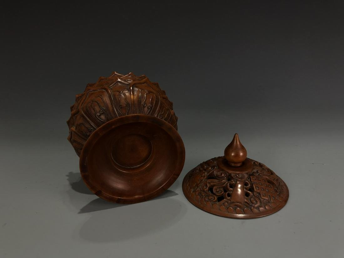 Boxwood Lotus Petal Censer with Cover - 5