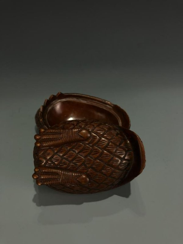 """Carved Boxwood """"Quail"""" Box And Cover - 2"""