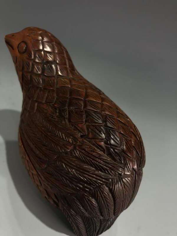 """Carved Boxwood """"Quail"""" Box And Cover - 5"""