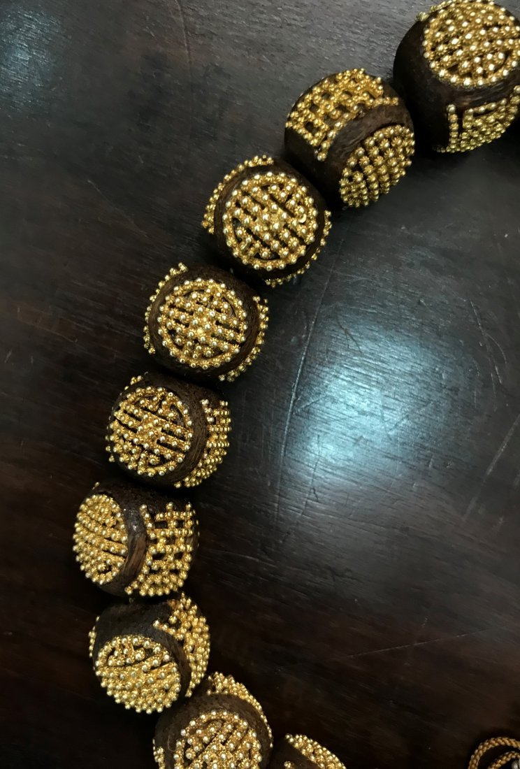 AgarWood Prayer Beads With Small Gold Beads In Box - 3