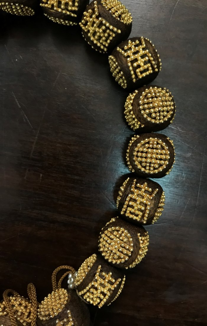 AgarWood Prayer Beads With Small Gold Beads In Box - 4