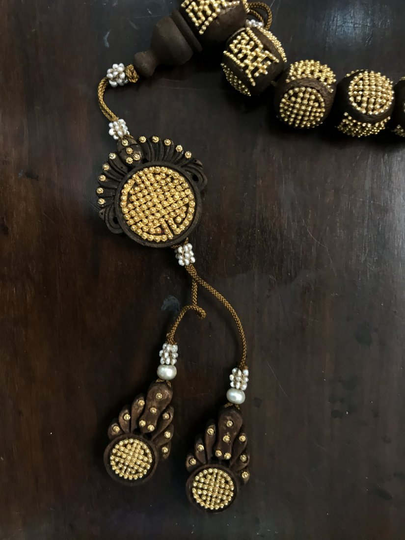AgarWood Prayer Beads With Small Gold Beads In Box - 6