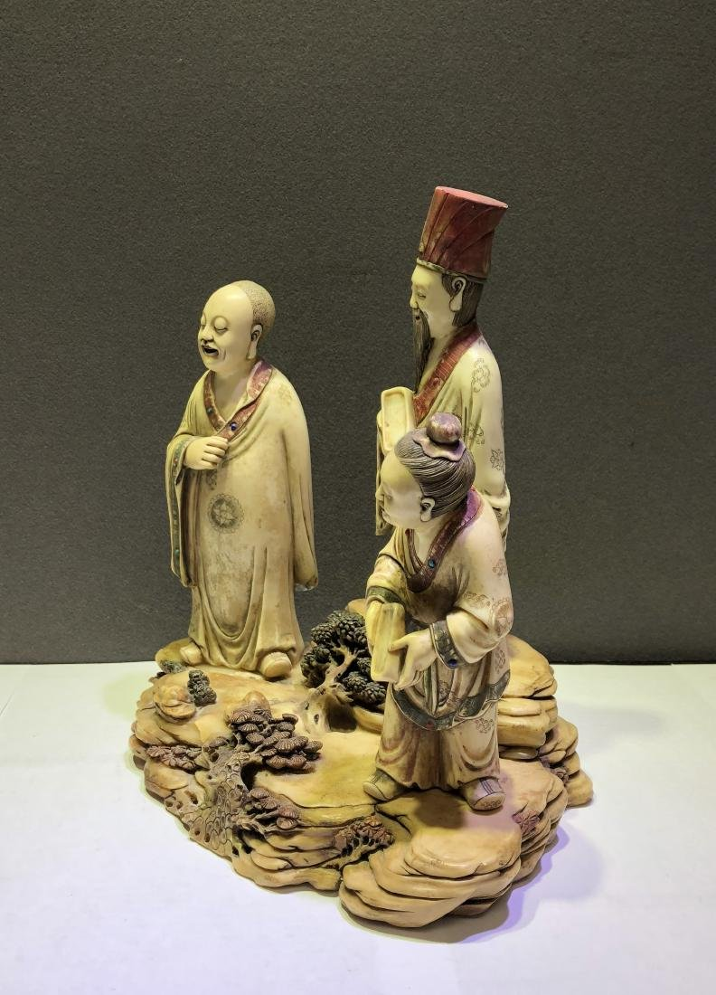 Carved Soap Stone Figure of Three Scholars - 2