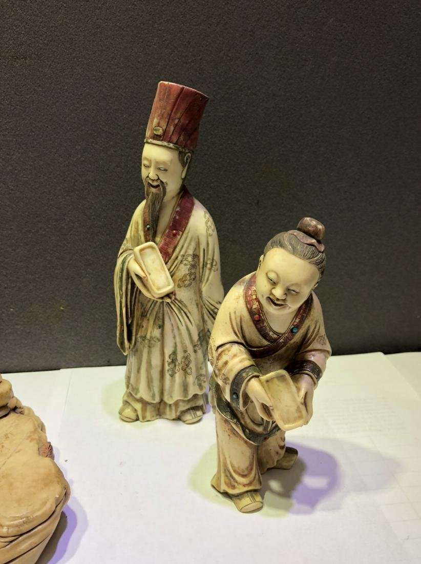 Carved Soap Stone Figure of Three Scholars - 5