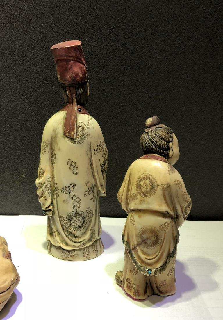 Carved Soap Stone Figure of Three Scholars - 6