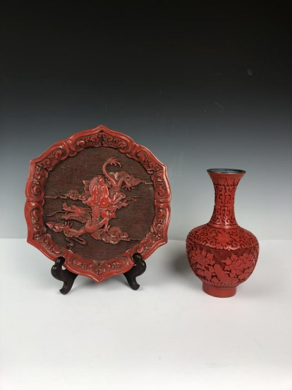 Cinnabar Plate and Vase