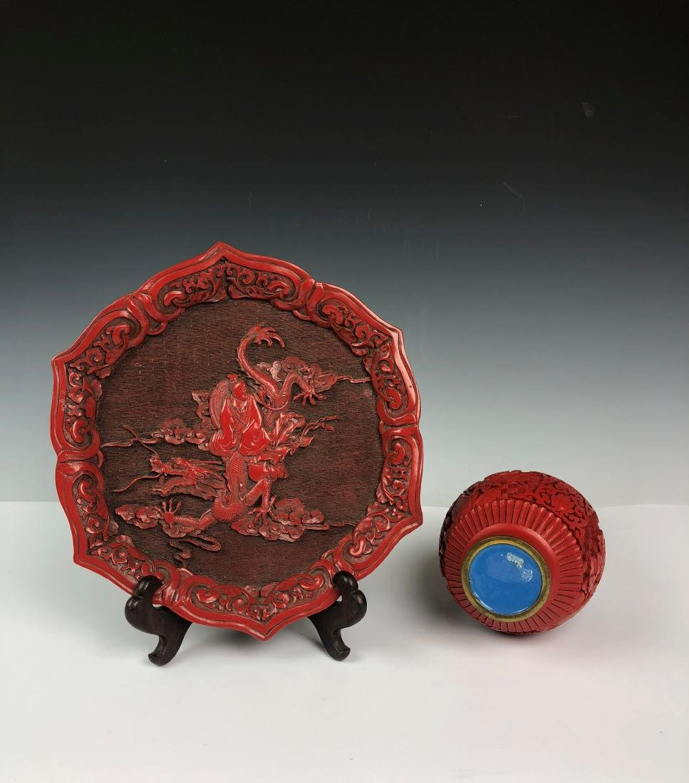 Cinnabar Plate and Vase - 6