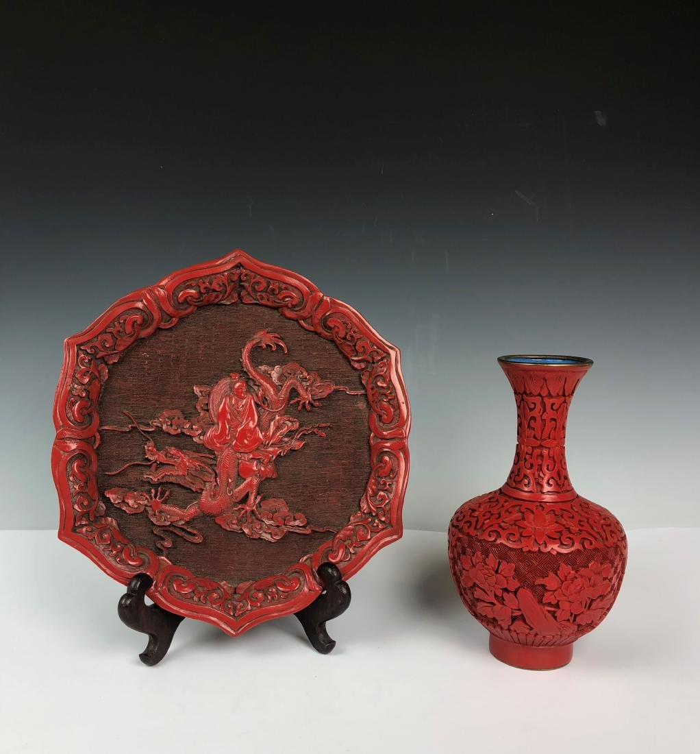 Cinnabar Plate and Vase - 7