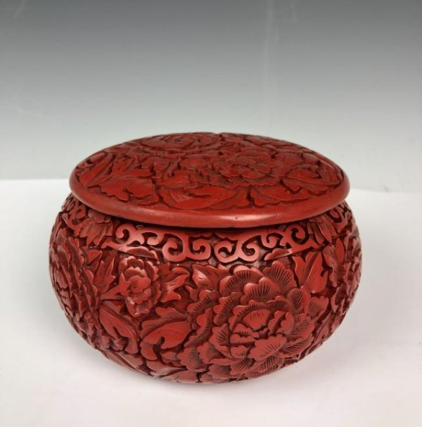 cinnabar circular box with cover