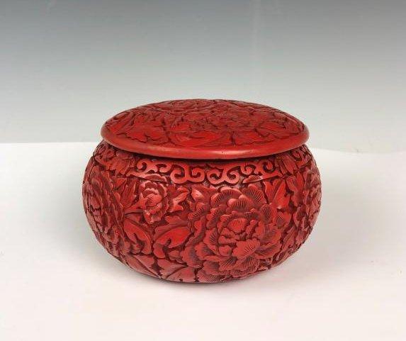 cinnabar circular box with cover - 2