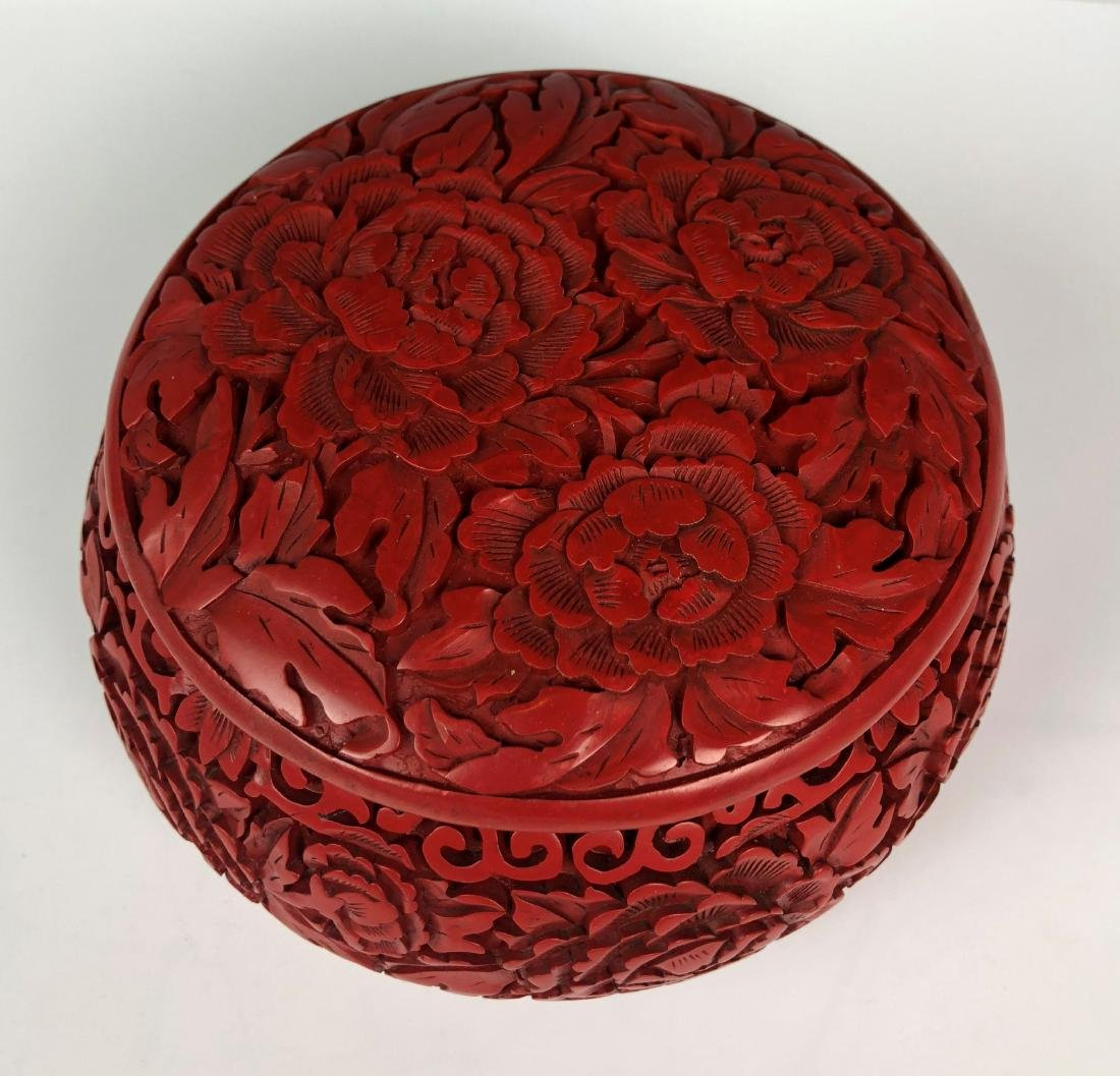 cinnabar circular box with cover - 3