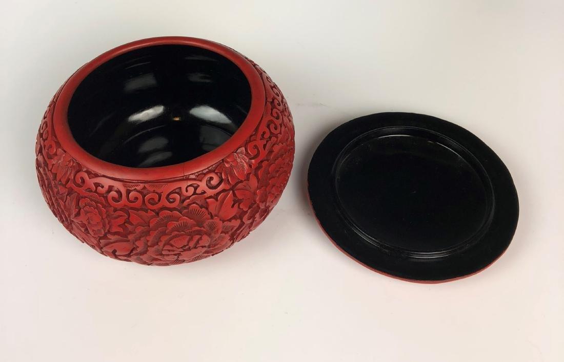 cinnabar circular box with cover - 4