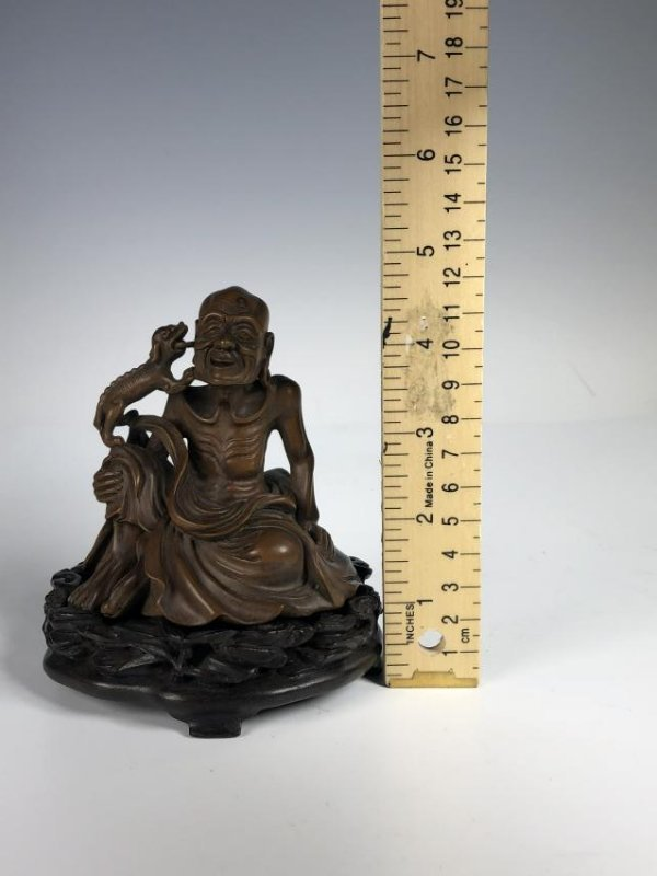 Carved Box Wood Figure  of Old Man and Dog - 10