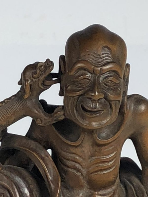 Carved Box Wood Figure  of Old Man and Dog - 11