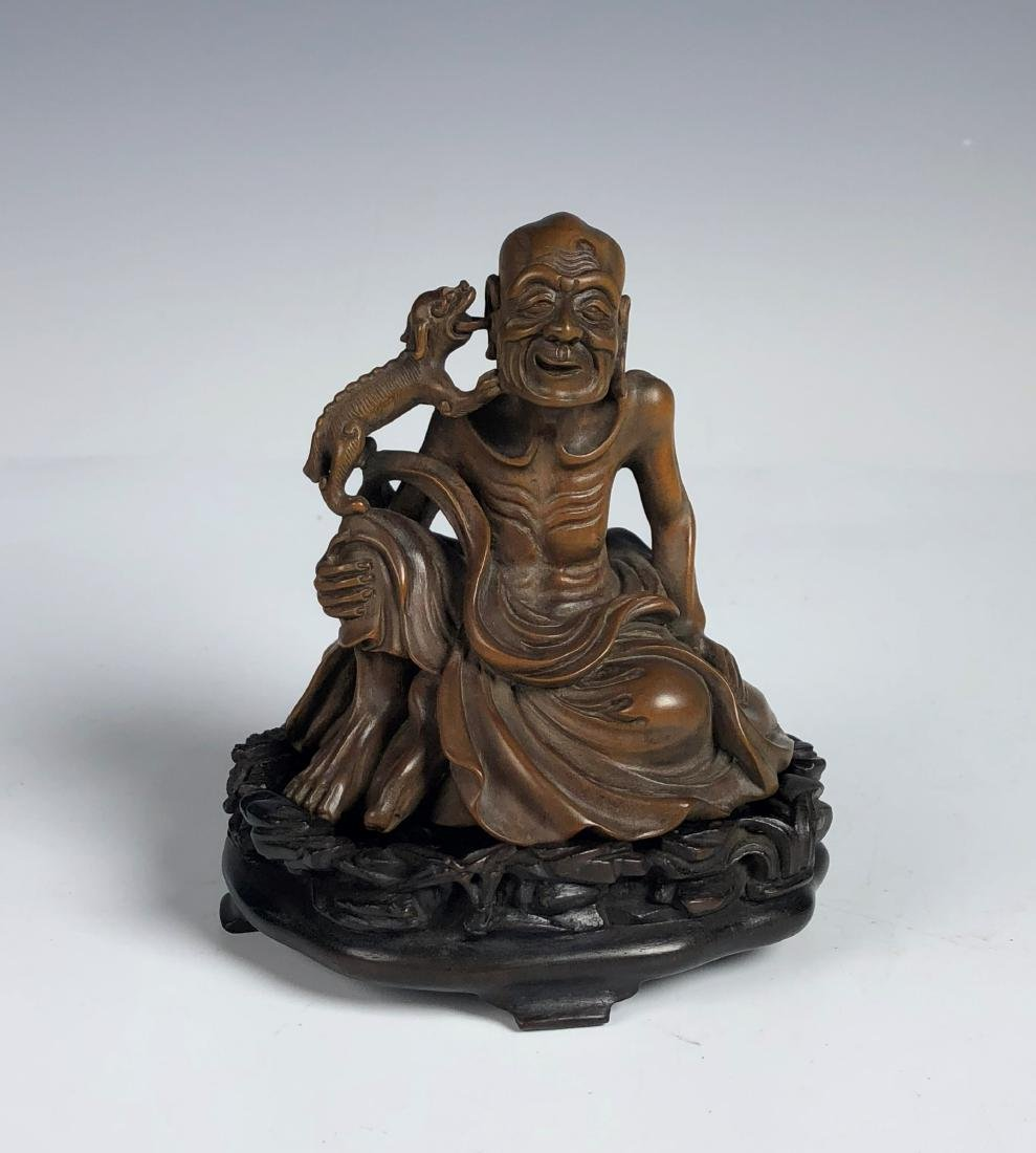 Carved Box Wood Figure  of Old Man and Dog