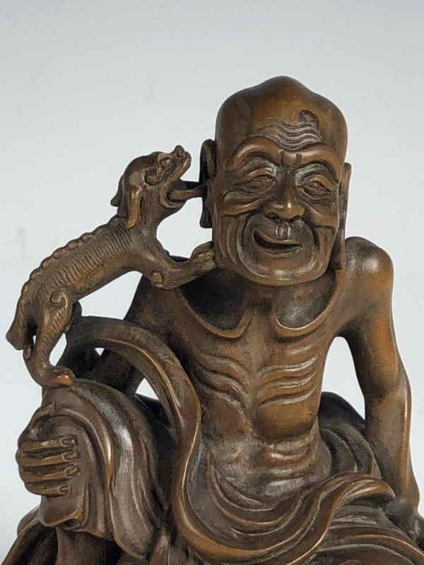 Carved Box Wood Figure  of Old Man and Dog - 2
