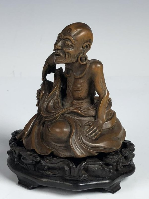 Carved Box Wood Figure  of Old Man and Dog - 4