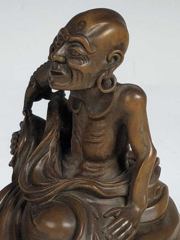 Carved Box Wood Figure  of Old Man and Dog - 5