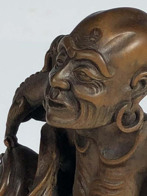 Carved Box Wood Figure  of Old Man and Dog - 6