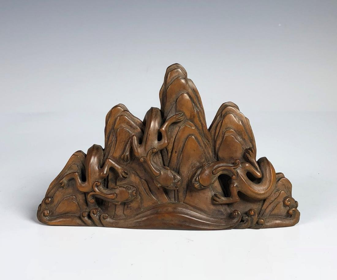 Carved Box wood of Mountain with Mythical Beasts