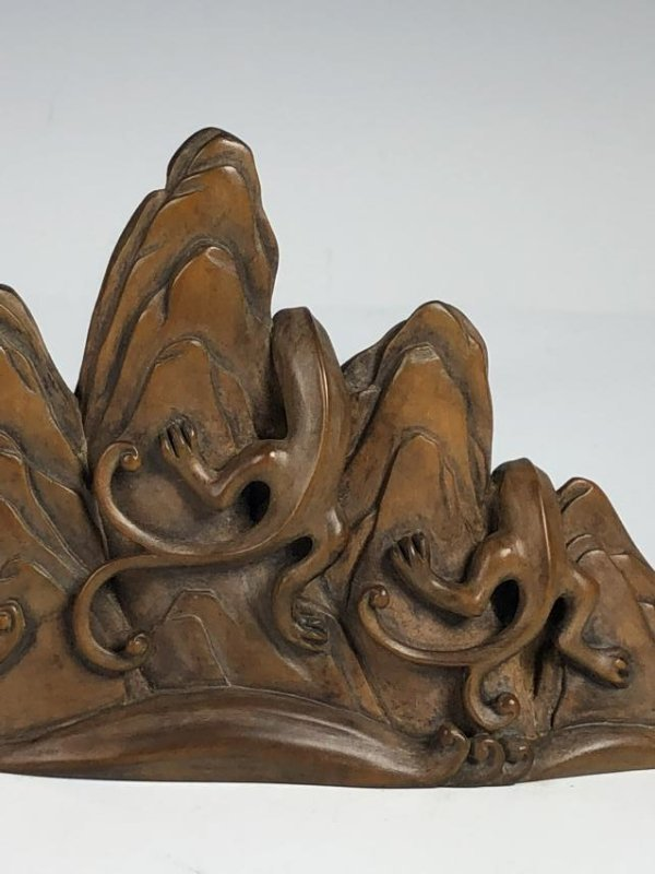 Carved Box wood of Mountain with Mythical Beasts - 5