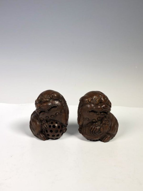 Pair of Carved Bamboo Foo Dogs - 3