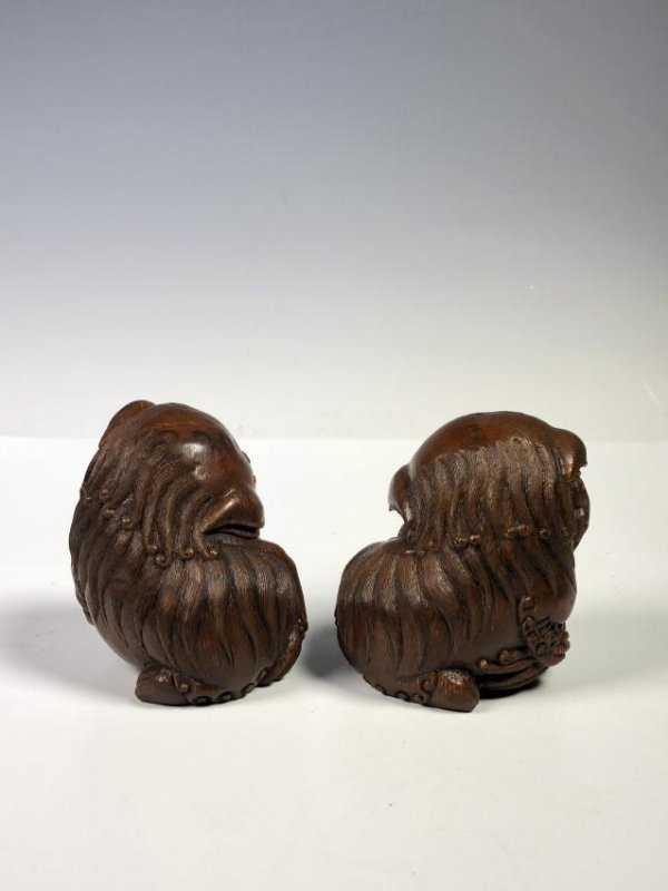 Pair of Carved Bamboo Foo Dogs - 5