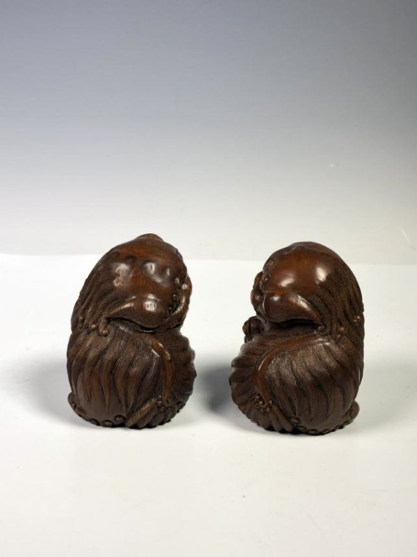 Pair of Carved Bamboo Foo Dogs - 6