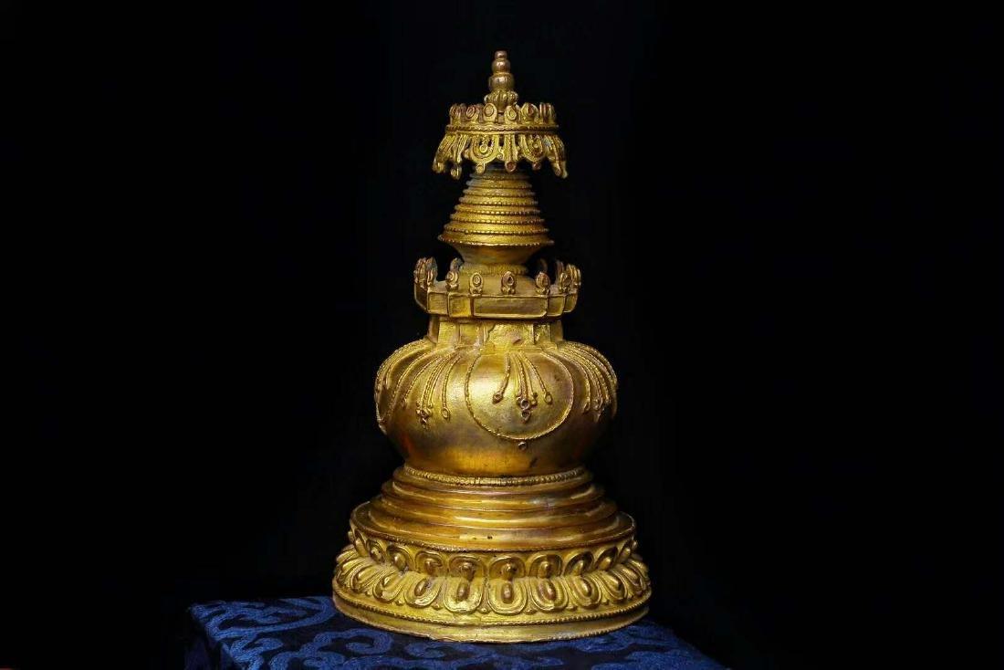 Gilt Bronze Stupa - 6