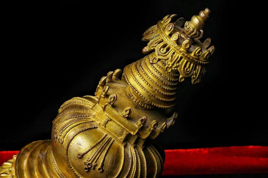 Gilt Bronze Stupa - 9
