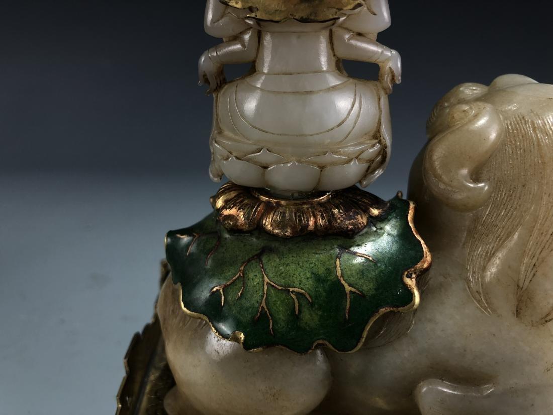 Jade Guardian Dog with Eight Arm Deity on Alter - 10