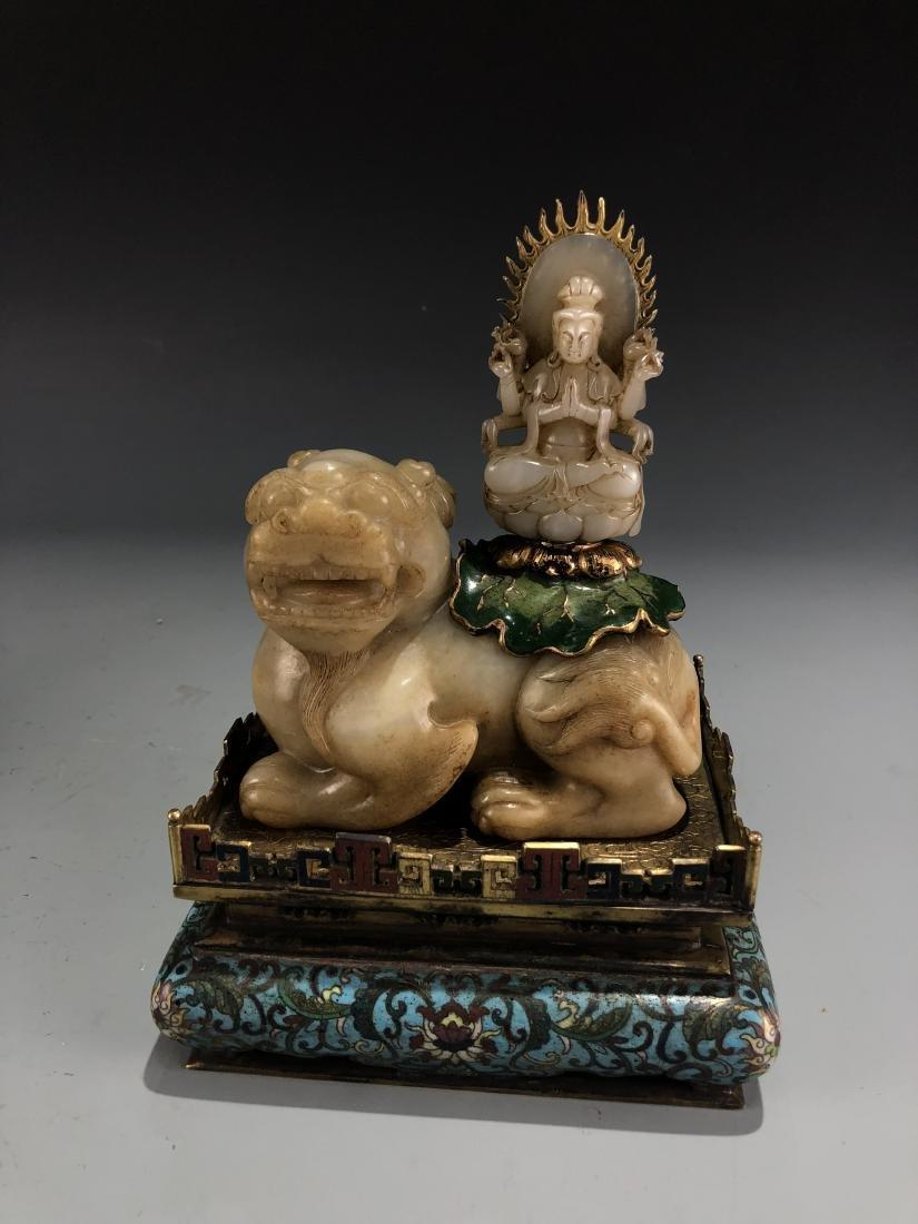 Jade Guardian Dog with Eight Arm Deity on Alter