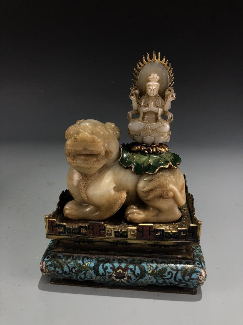 Jade Guardian Dog with Eight Arm Deity on Alter