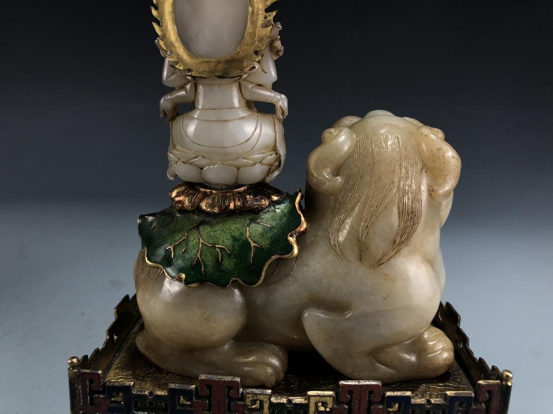 Jade Guardian Dog with Eight Arm Deity on Alter - 2