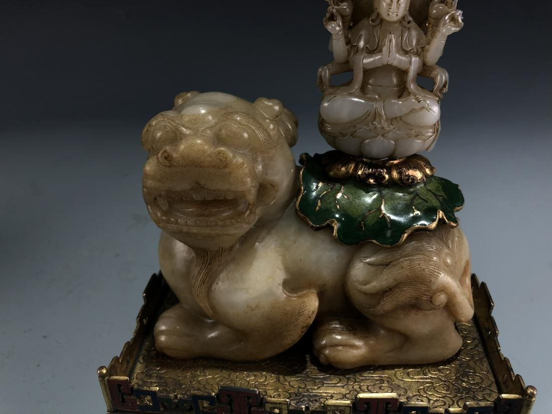 Jade Guardian Dog with Eight Arm Deity on Alter - 5