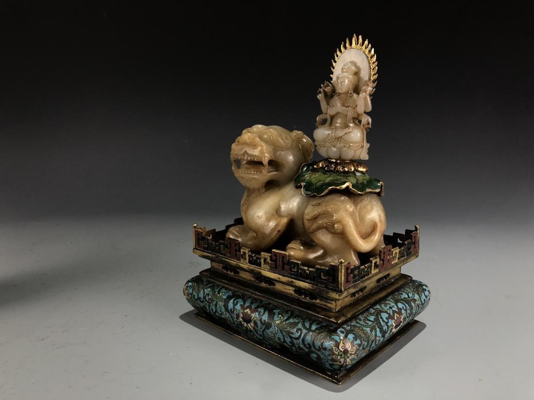 Jade Guardian Dog with Eight Arm Deity on Alter - 6