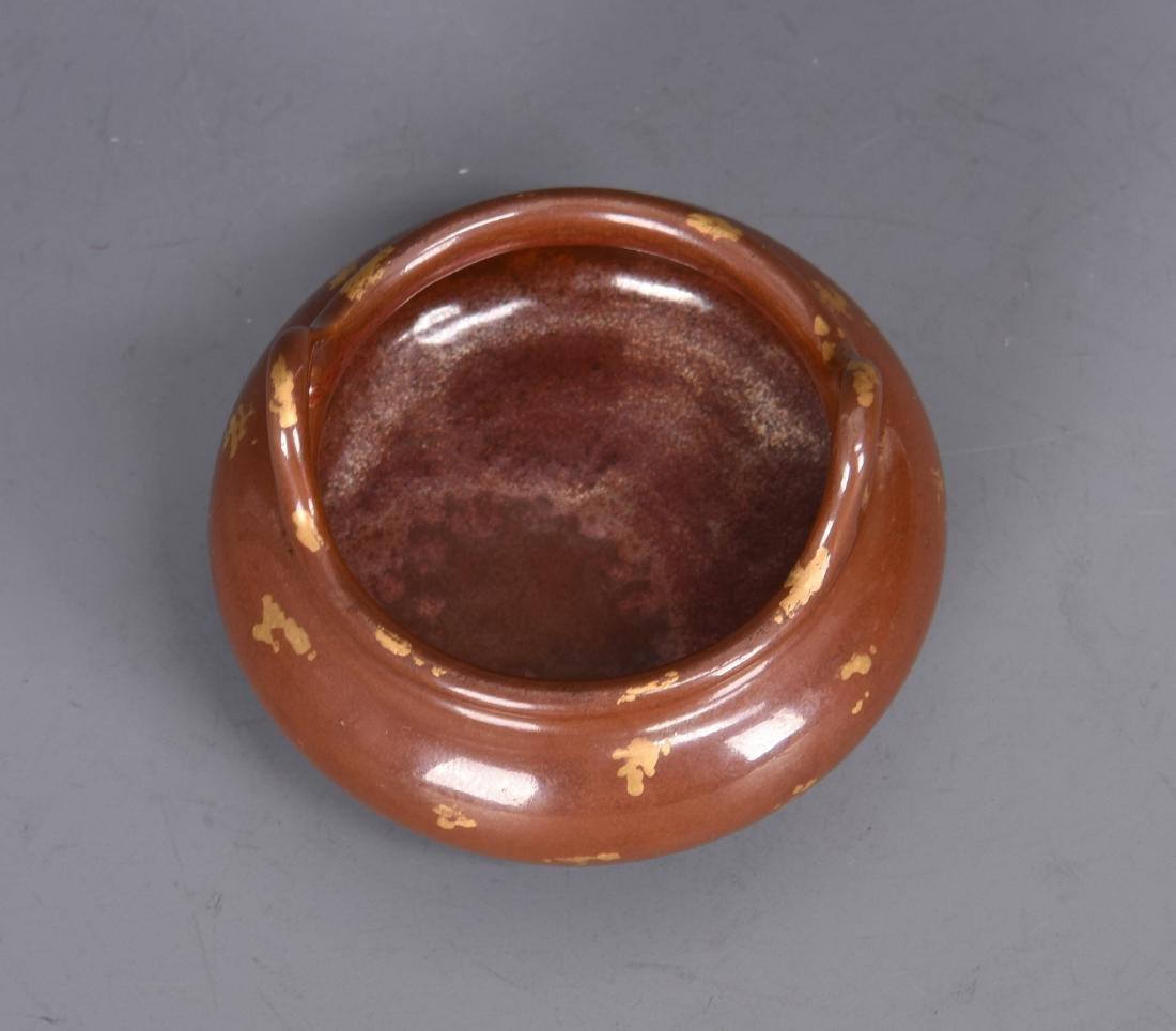 Porcelain Gold Splashed Tripod Censer with Mark - 3