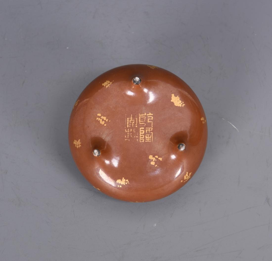 Porcelain Gold Splashed Tripod Censer with Mark - 4