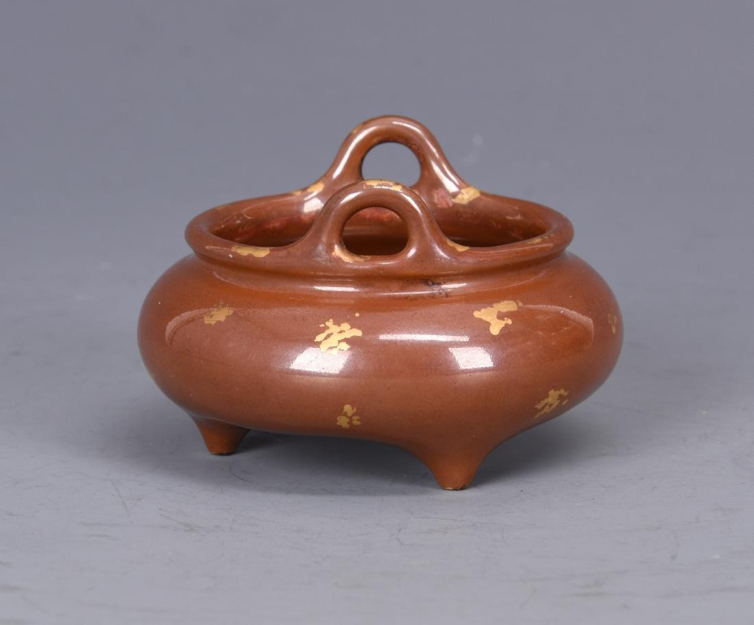 Porcelain Gold Splashed Tripod Censer with Mark - 6