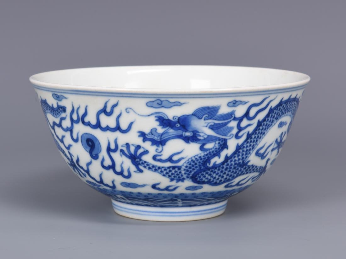 Blue and White Porcelain Dragon Bowl with mark