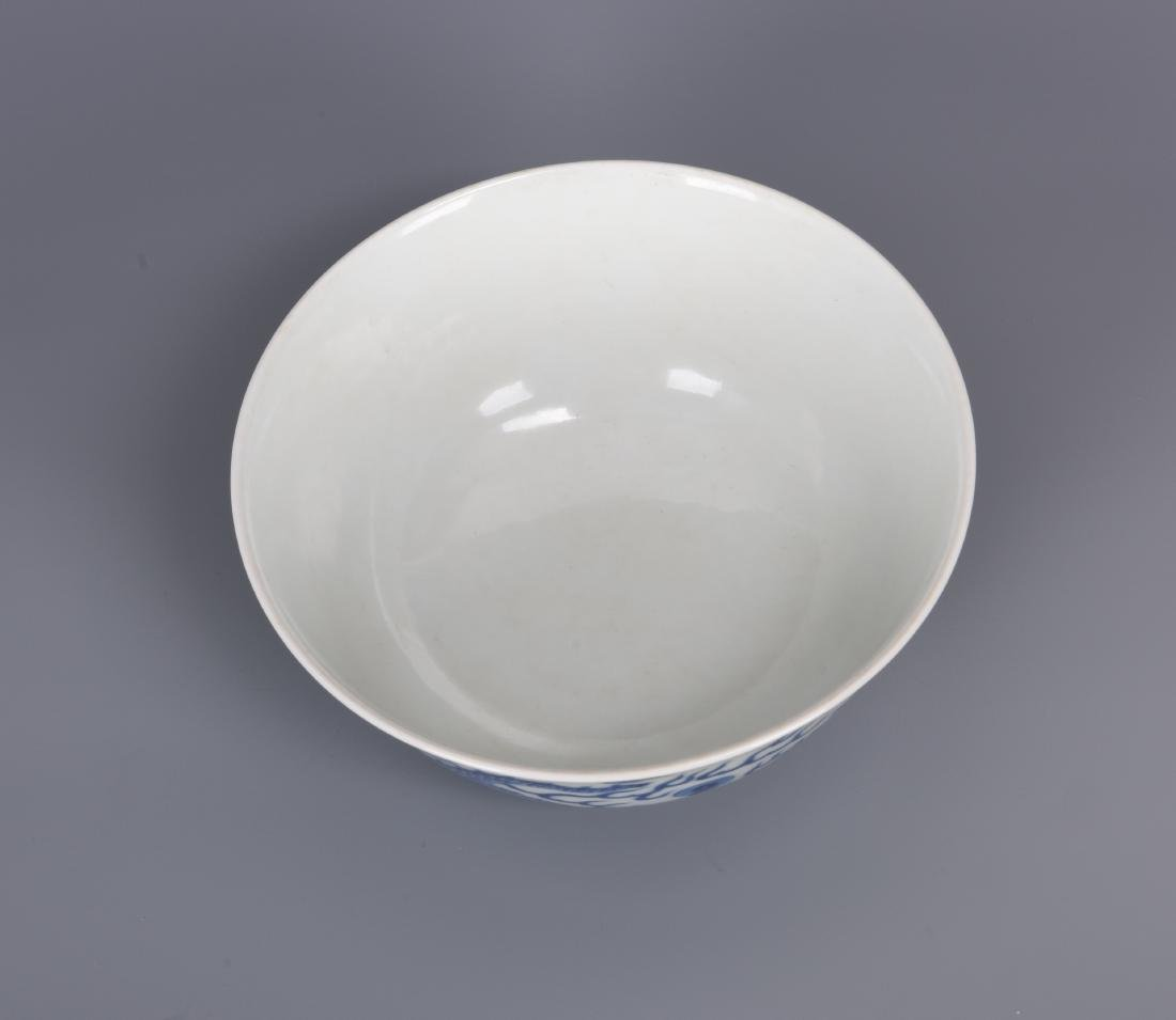 Blue and White Porcelain Dragon Bowl with mark - 8