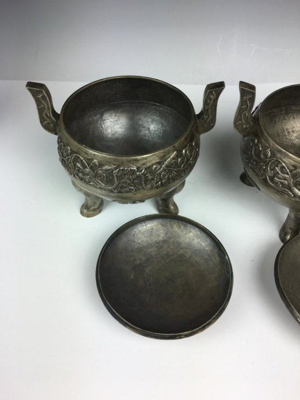 Pair of Chinese Silver Tripod Vessels with Mark - 10