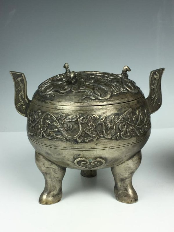 Pair of Chinese Silver Tripod Vessels with Mark - 2