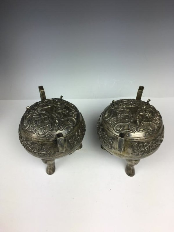 Pair of Chinese Silver Tripod Vessels with Mark - 3